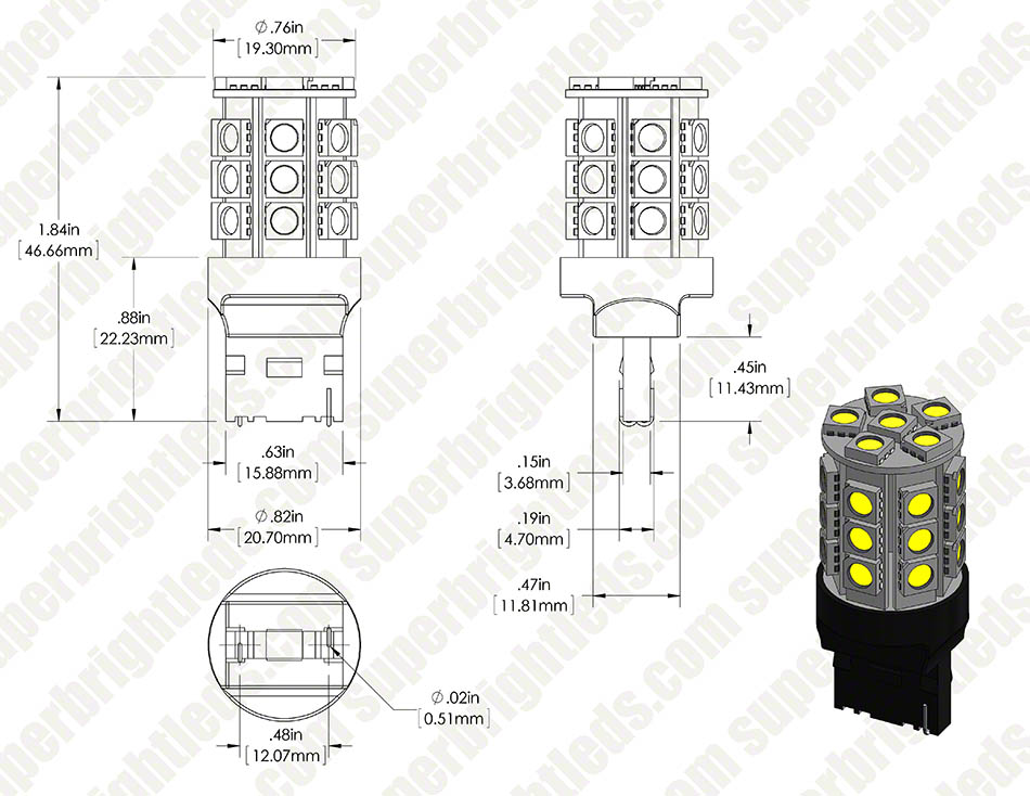 7440 LED Bulb - 27 SMD LED Tower - Wedge Retrofit