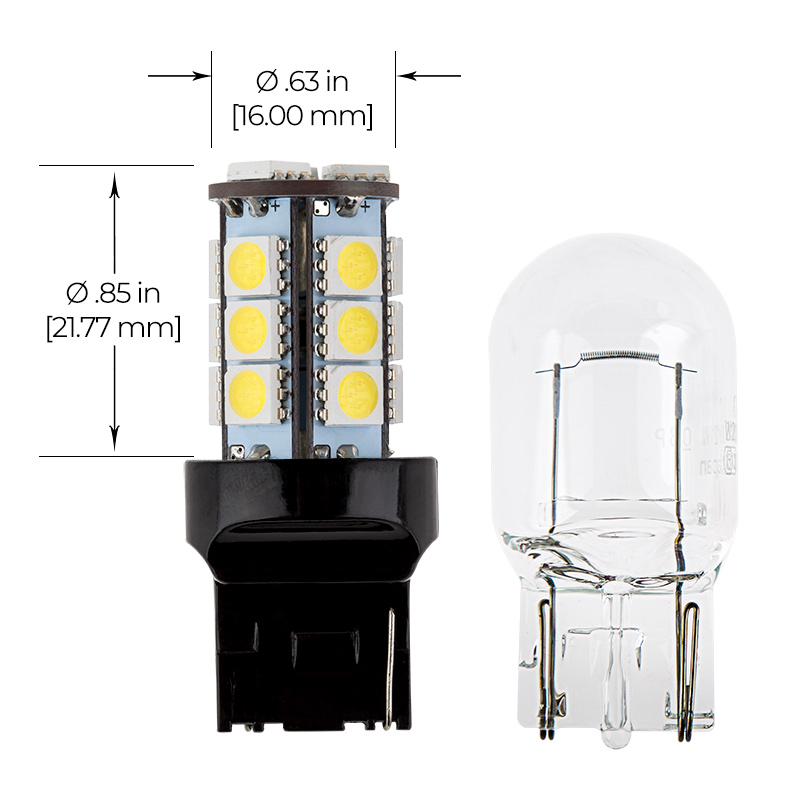 7440 LED Bulb - 18 SMD LED Tower - Wedge Retrofit: Profile View