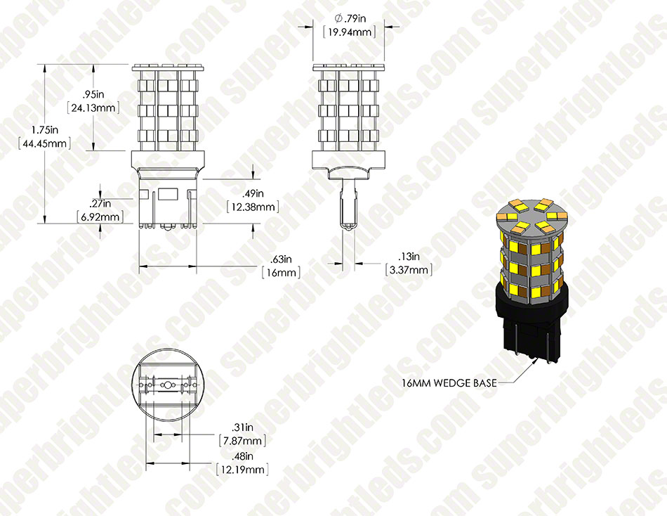 7443 Switchback LED Bulb - Dual Intensity 60 SMD LED Tower, A Type