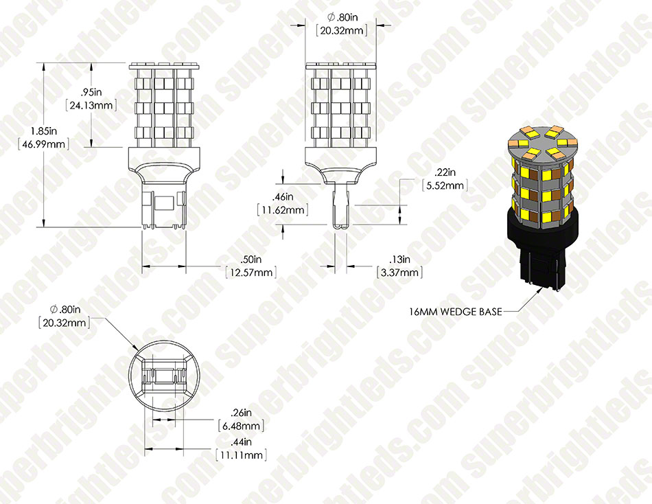 7443 Switchback LED Bulb - Dual Intensity 60 SMD LED Tower, B Type