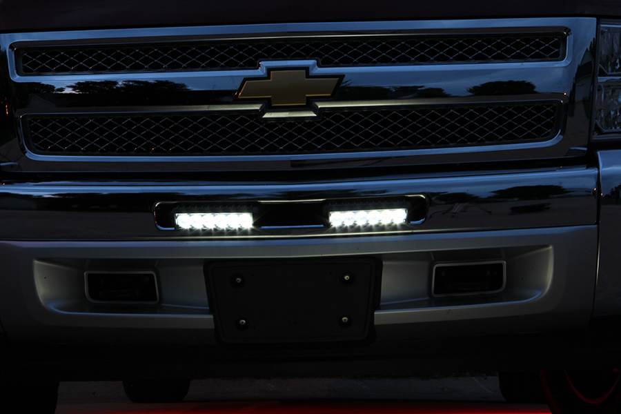 Off road led work lightled driving light 55 rectangle 12w wl 18w ox led work light 5 12 rectangle 18w mounted in grille as drls on chevy truck mozeypictures Images