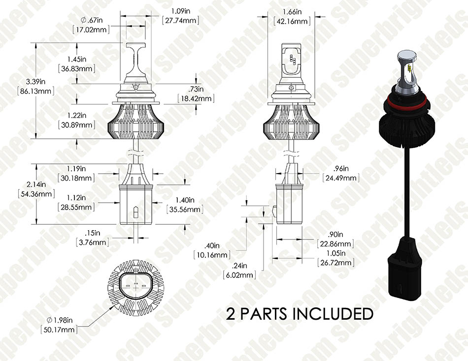 9007 Led Fanless Headlight Fog Light Conversion Kit With