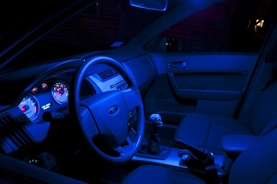 Car interior blue led lights