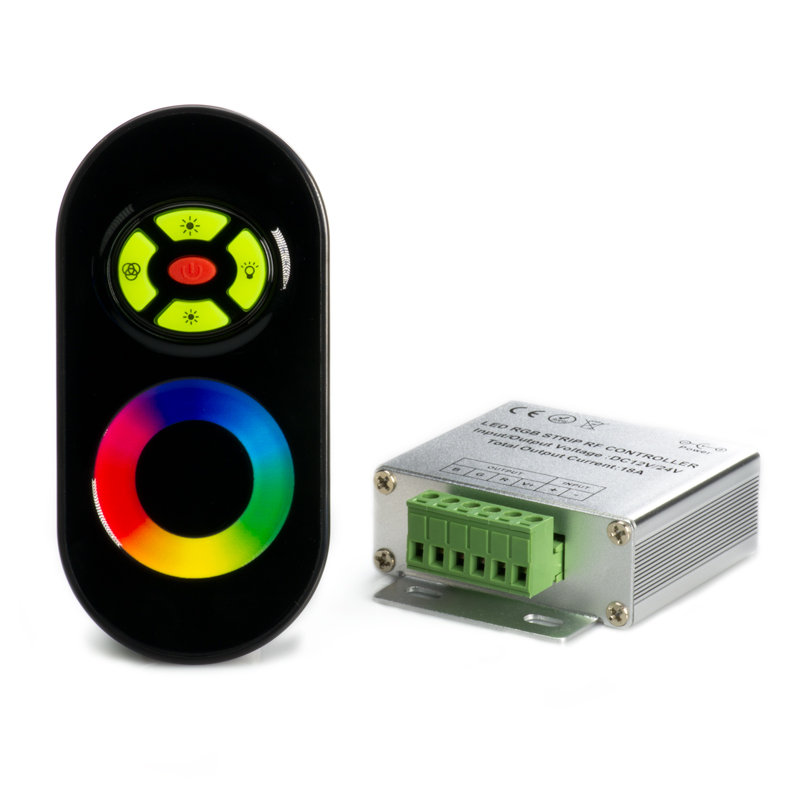 rgb led controller w syncable rf touch color remote dynamic color changing modes 6 amps. Black Bedroom Furniture Sets. Home Design Ideas