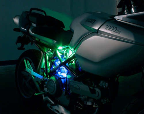 Motorcycle led lighting kit weatherproof rgb color changing led multiple strips can be purchased and installed to create this effect blue and green are multiple strips can be purchased and installed to create this aloadofball Images