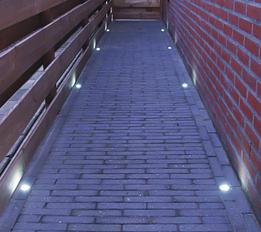 LED Step Lights   1 LED Mini Round Deck / Step Light: Shown Installed In  Walkway.