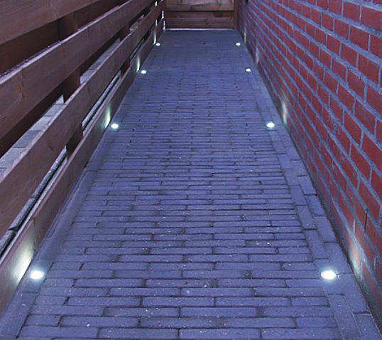 Led in ground well light 1 watt stainless steel for Walkway lighting fixtures