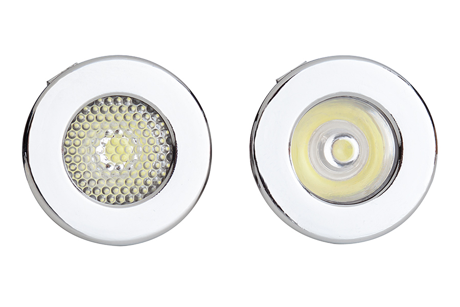 Mini recessed led accent light 1 watt super bright leds 1 watt led recessed light fixture front view showing difference between flood left spot right aloadofball Images