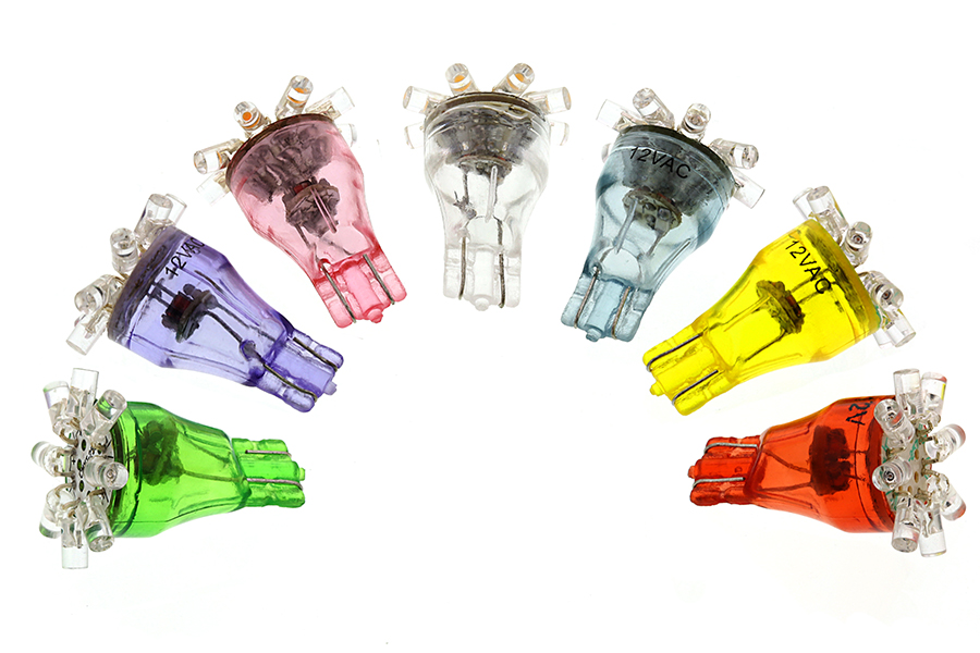 8 LED Miniature Wedge Base LED Tier Light Bulbs. Colors: Green, UV  (Blacklight), Pink, Warm/Cool White, Blue, Yellow, Red