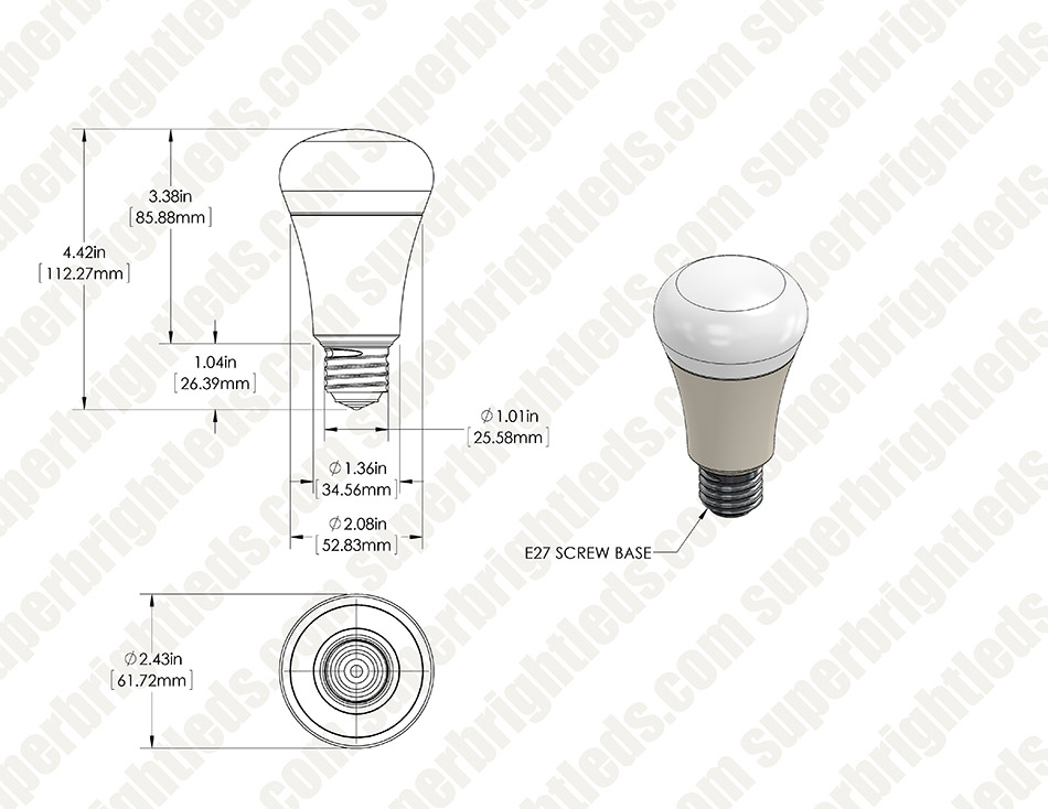 A19 3 Way Led Bulb 40 60 75 Watt Equivalent 1 200