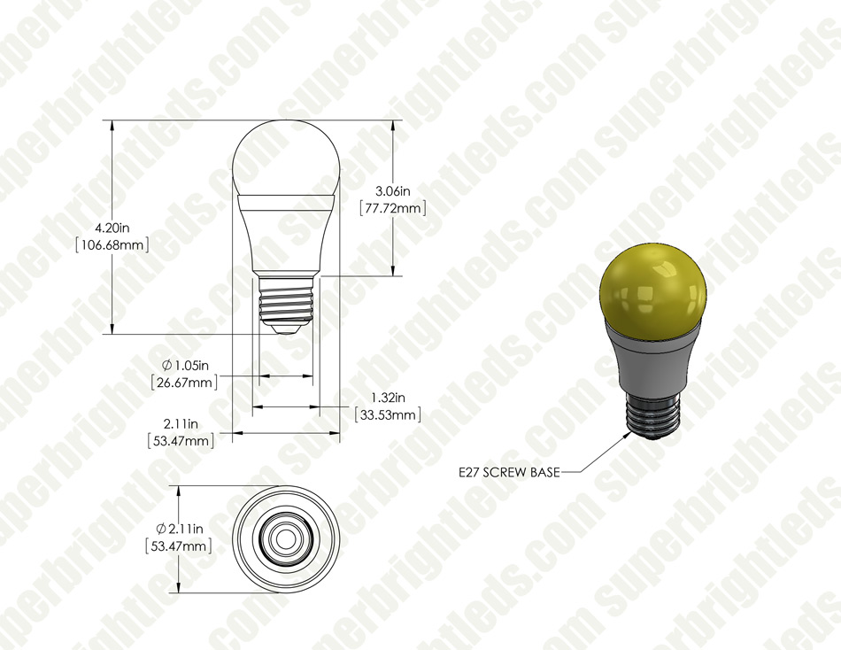 LED Bug Light Bulb - A19 - Yellow - 75 Watt Equivalent - 940 Lumens