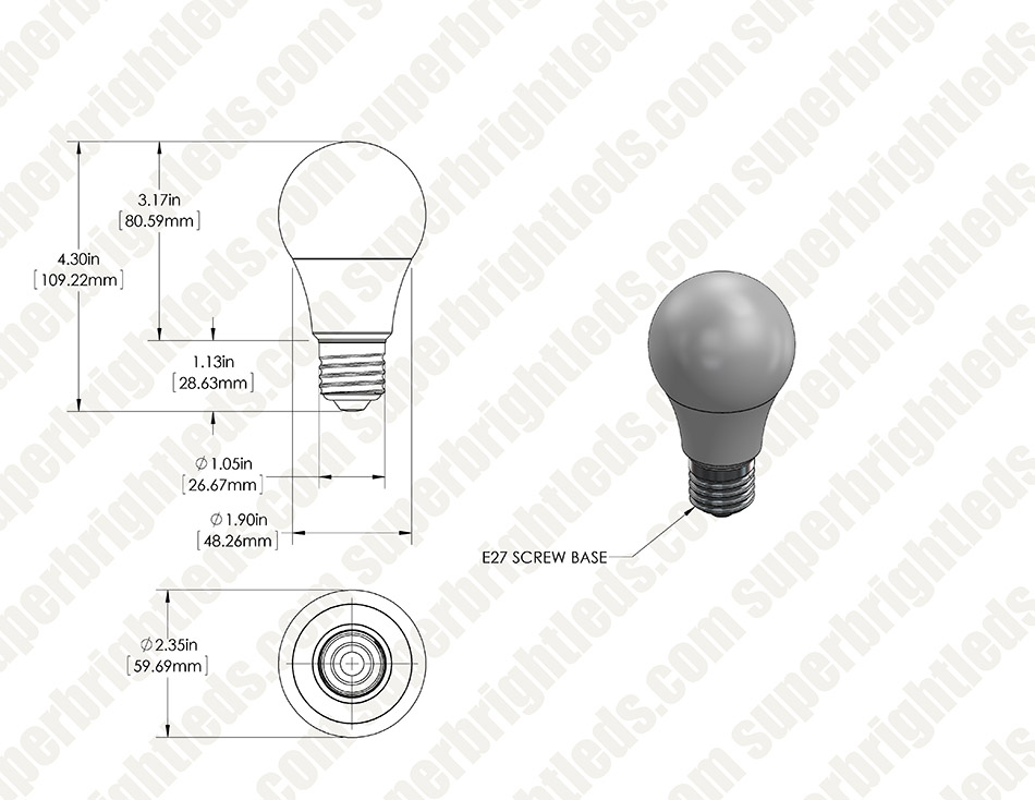 A19 LED Bulb - 70 Watt Equivalent - 12V DC
