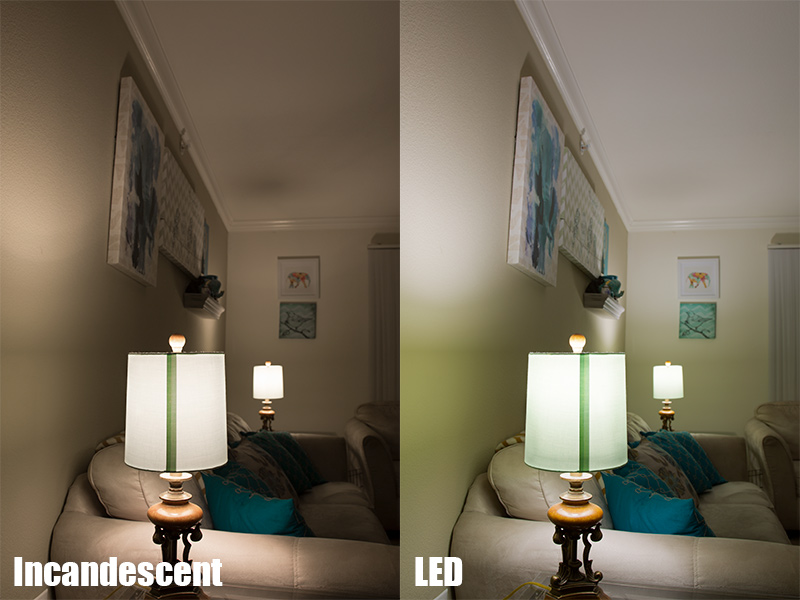 A19 LED Bulb   85 Watt Equivalent   Dimmable   840 Lumens: Incandescent /  LED Comparison In Living Room