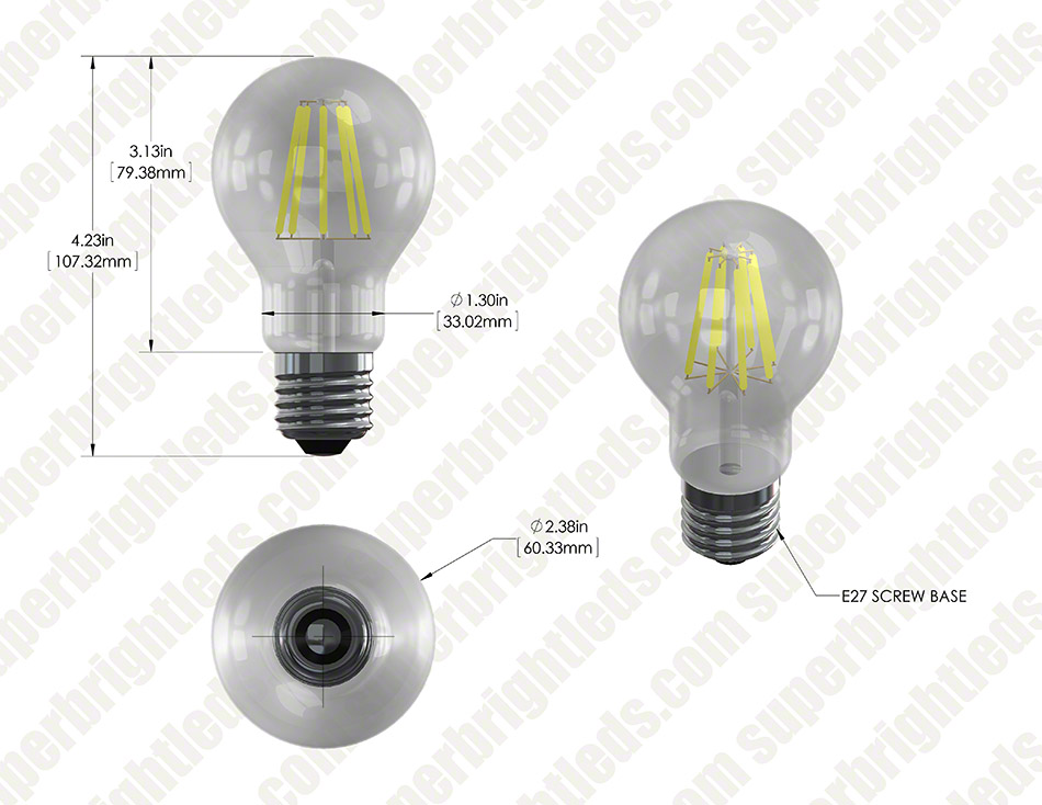 LED Filament Bulb - A19 LED Bulb with 8 Watt Filament LED - Dimmable