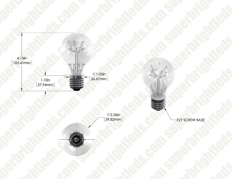 LED Fireworks Bulb - A19 Vintage Fireworks LED Bulb - Dimmable