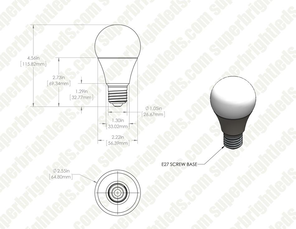a21 led bulb - 60 watt equivalent - 24 vdc