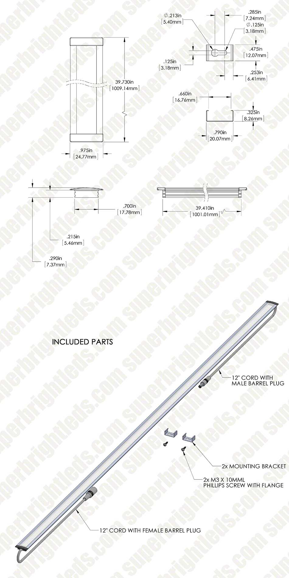 linear led light bar fixture w   dc barrel connectors - flush mount