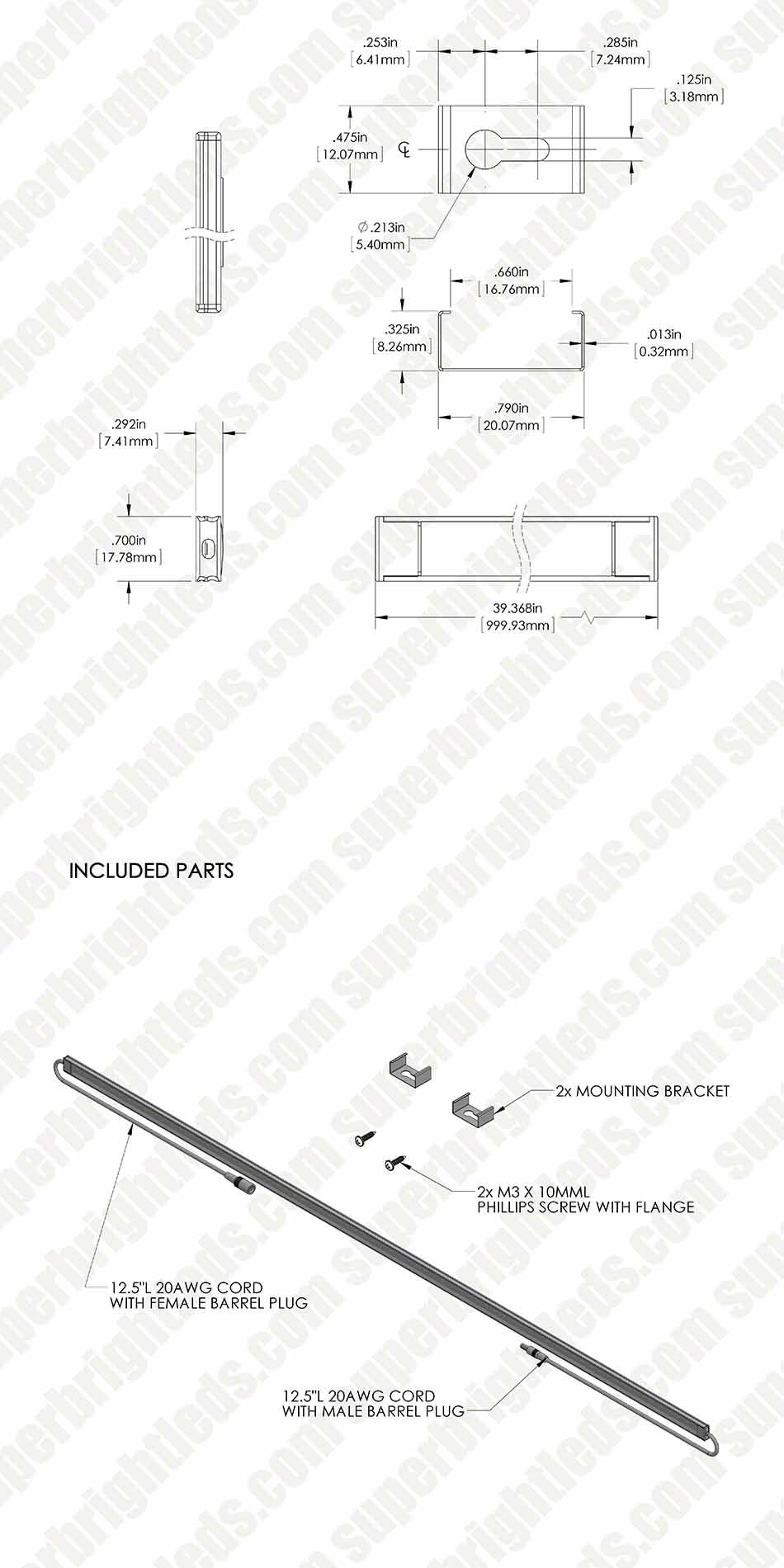 aluminum led light bar fixture