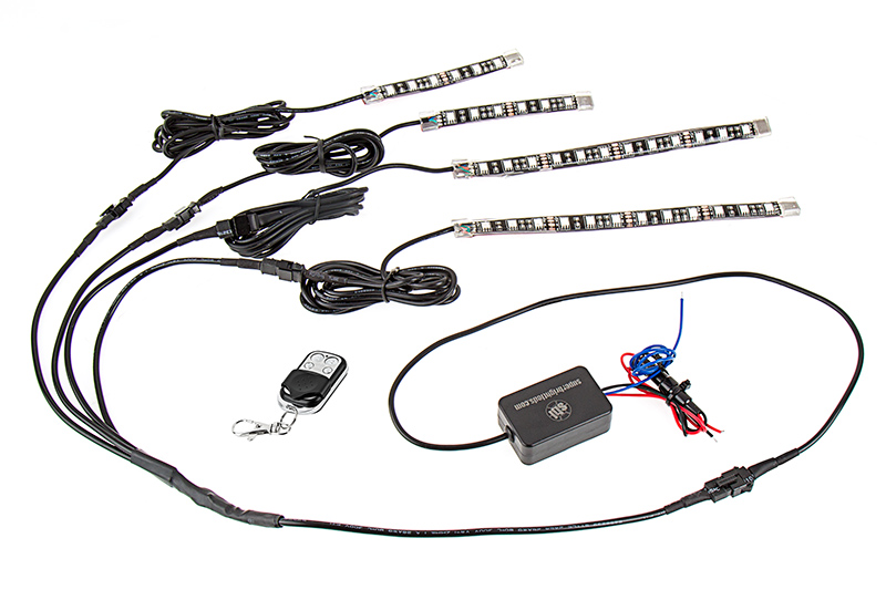 Motorcycle Led Lighting Kit Multi Strip Remote Activated