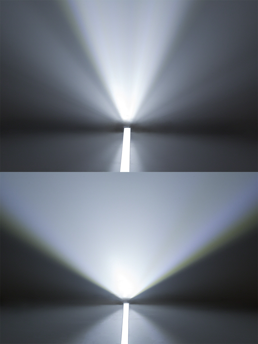 Aluminum LED Light Bar Fixture   Deep Profile Surface Mount Bar (Top) Vs.  Shallow Profile Surface Mount Bar (Bottom) Beam Patterns