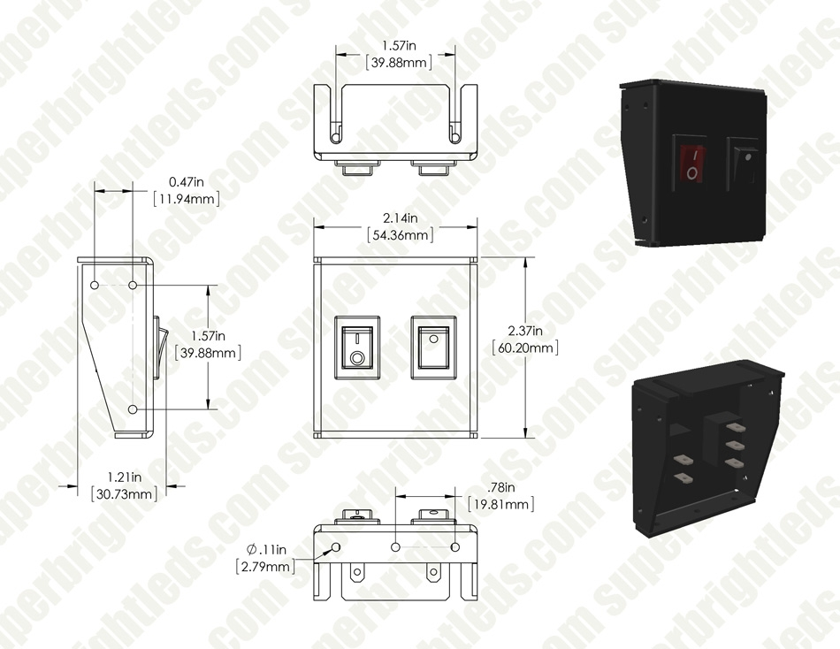 1-Position LED Rocker Switch Panel with Momentary Switch - DC Distribution Switch Panel - 12 VDC - 10 Amps