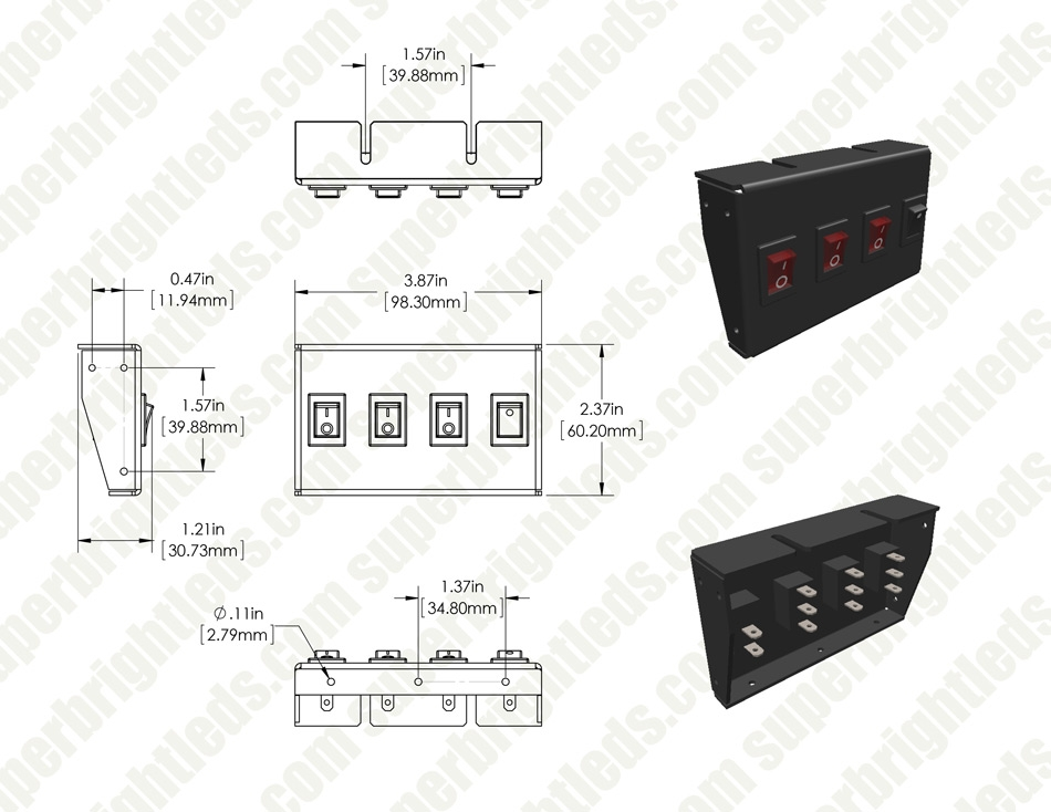 3-Position LED Rocker Switch Panel with Momentary Switch - DC Distribution Switch Panel - 12 VDC - 30 Amps