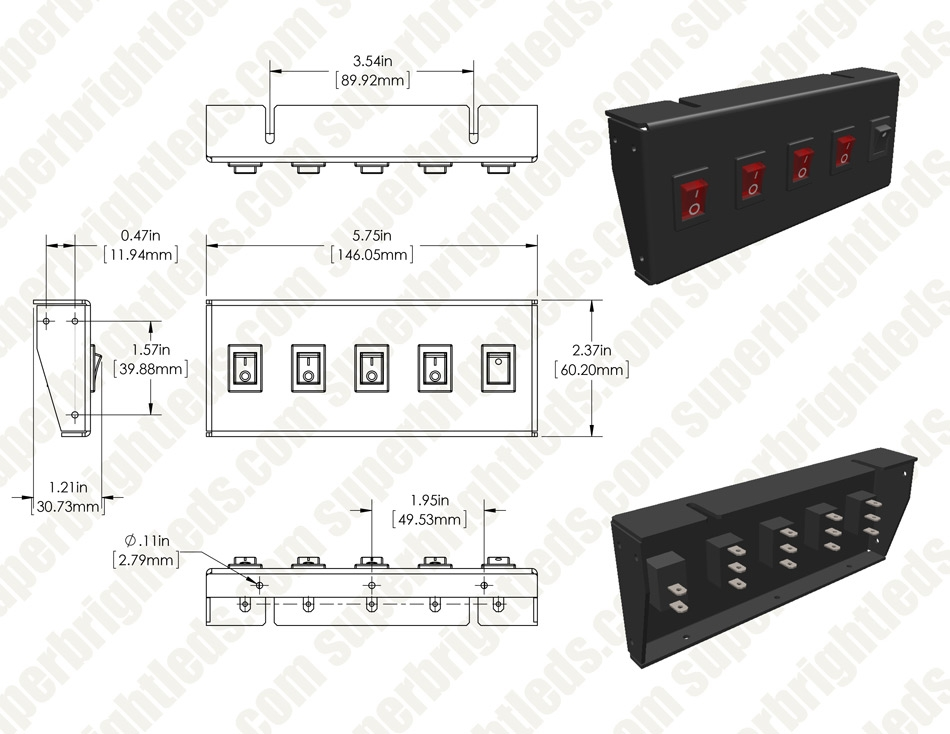 4-Position LED Rocker Switch Panel with Momentary Switch - DC Distribution Switch Panel - 12 VDC - 40 Amps