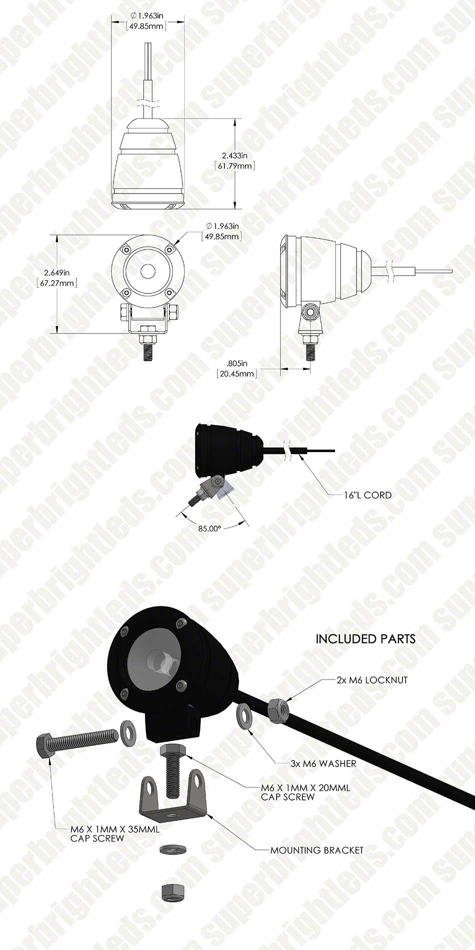 "2"" Round 10 Watt LED Mini Auxiliary Work Light"