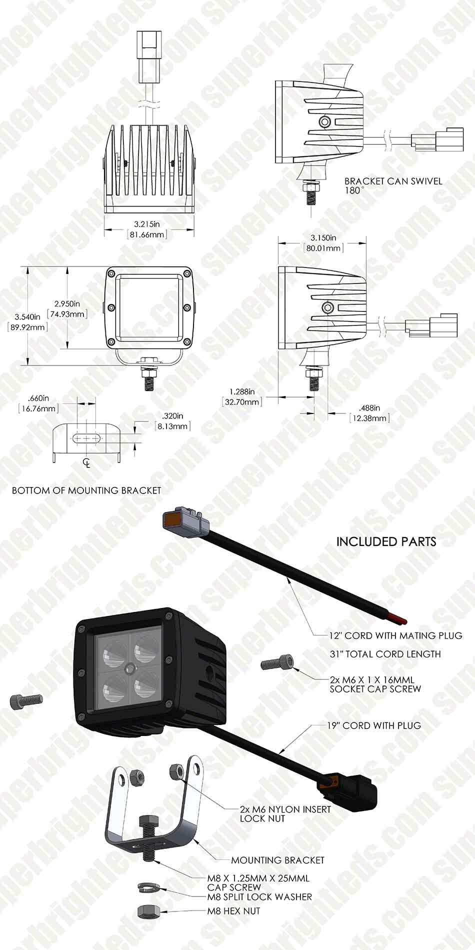 "3"" Square 12 Watt LED Mini Auxiliary Work Light"