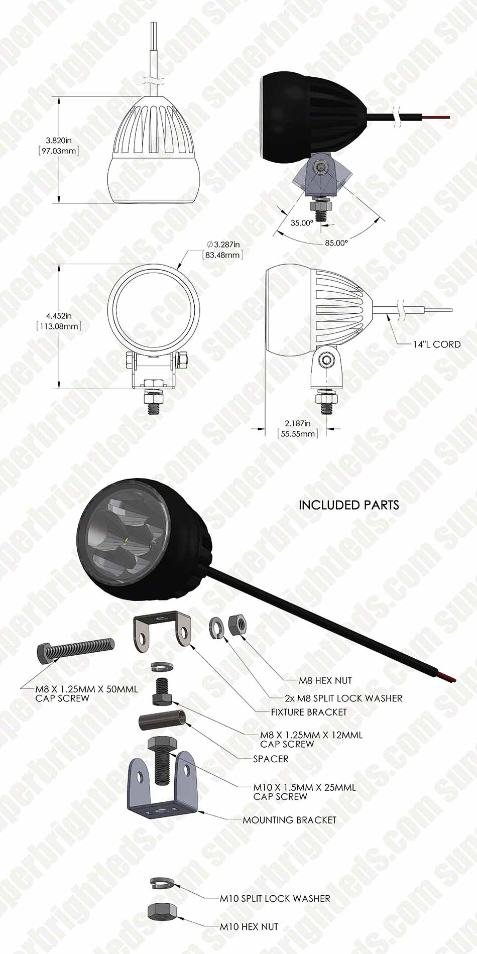 "3.25"" Round 18 Watt LED Mini Auxiliary Work Light"