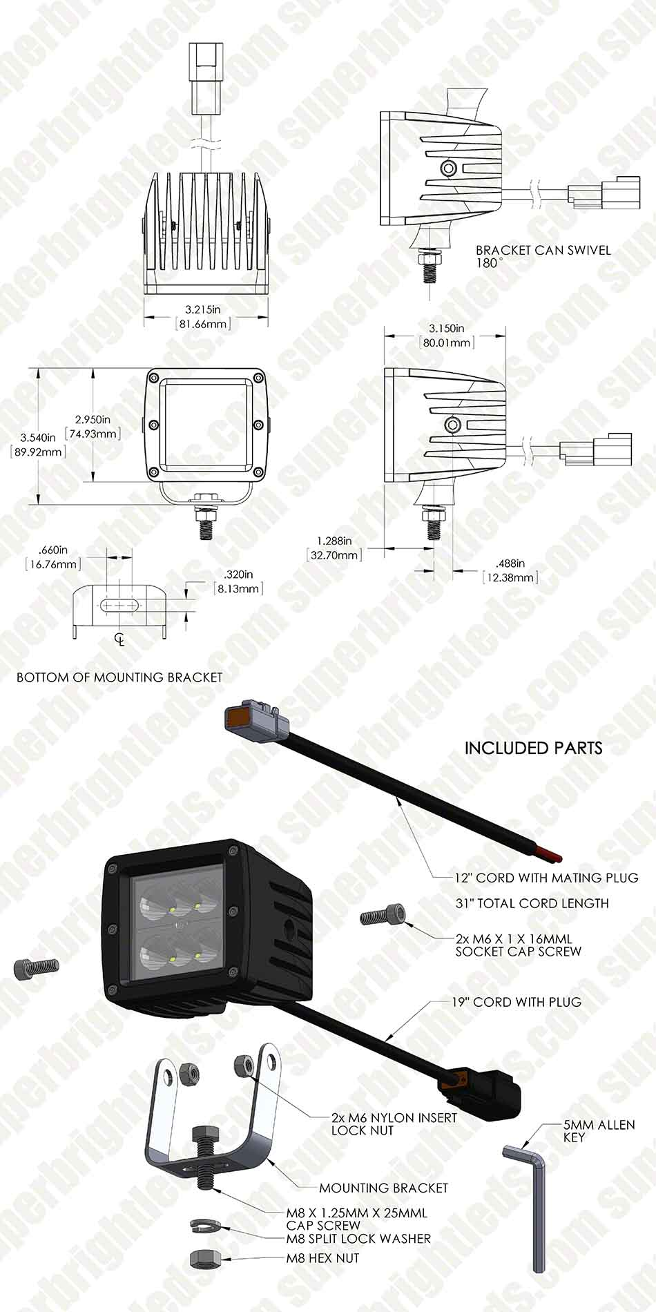 "3"" Square 18 Watt LED Mini Auxiliary Work Light"
