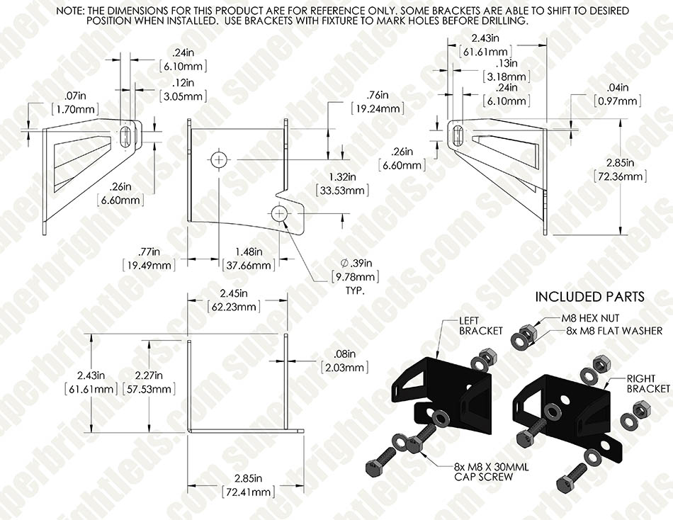 "Jeep Wrangler JK (07-2013) Lower Windshield LED Light Mounts - 3"" Square Auxiliary LED Work Lights"