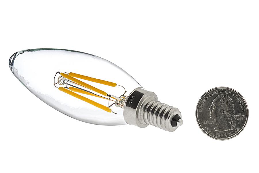 b10 led filament bulb 40 watt equivalent led candelabra bulb w blunt tip dimmable 350. Black Bedroom Furniture Sets. Home Design Ideas