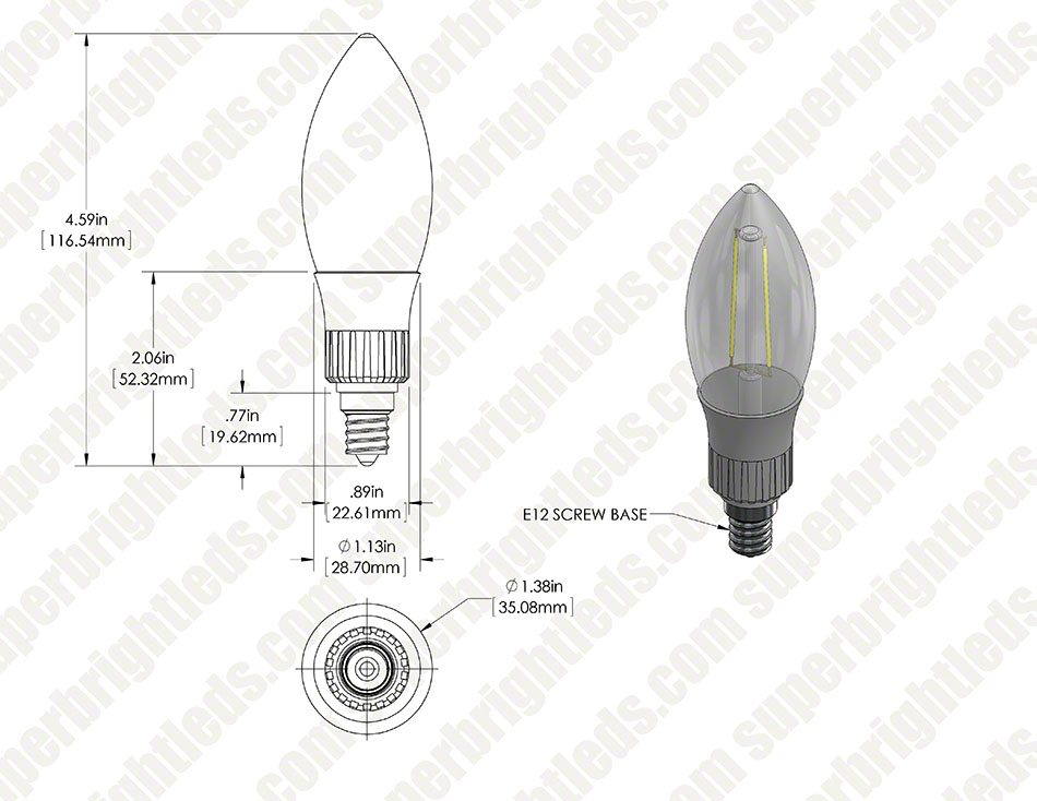LED Filament Bulb - B10 LED Candelabra Bulb with 3 Watt Filament LED, Blunt Tip, Warm White
