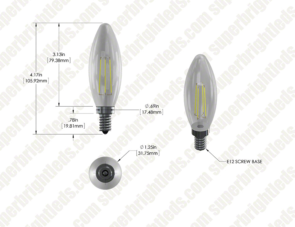 led filament bulb b10 led candelabra bulb with 4 watt filament led dimmable
