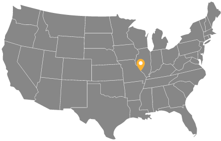 Map of the United States with Super Bright LED's St. Louis location marked.