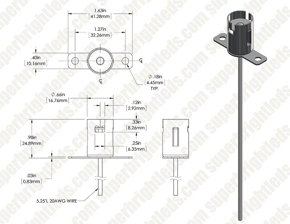 BA15 Bayonet Base Sockets Wired Super Bright LEDs