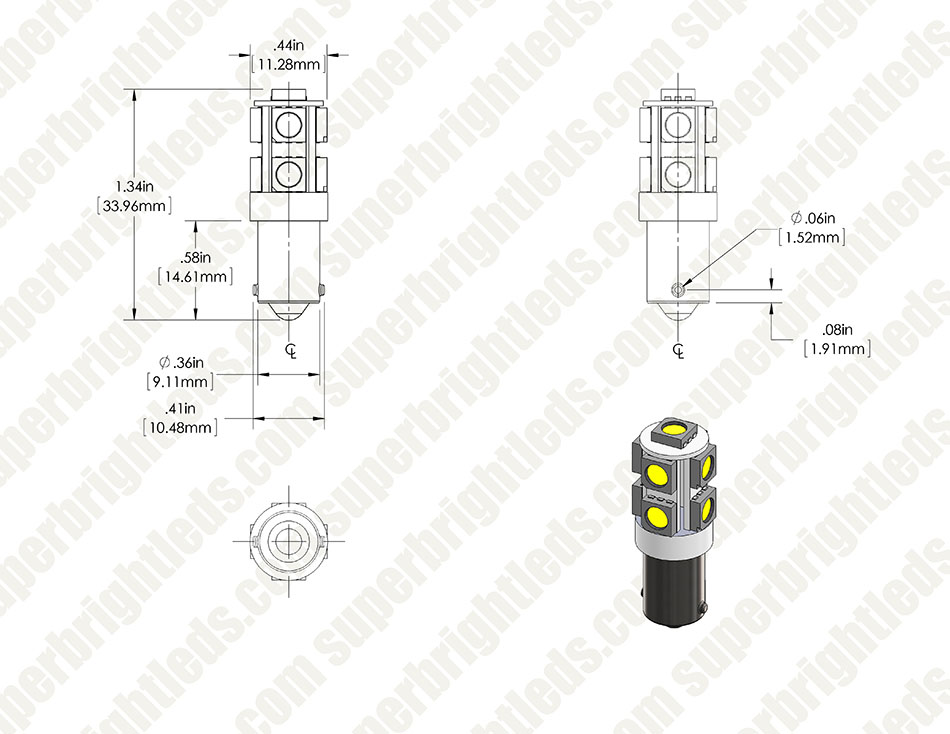 BA9s LED Bulb - 9 SMD LED Tower - BA9s Retrofit