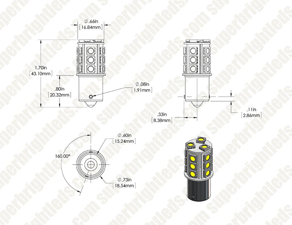 7507  py21w  led bulb - 18 smd led tower