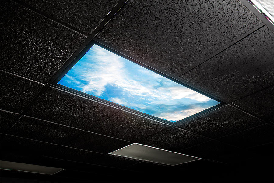 Led skylight w summer skylens 2x4 dimmable led panel light led skylight 2x4 dimmable even glow led panel light summer sky installed in ceiling matching black tile aloadofball Gallery