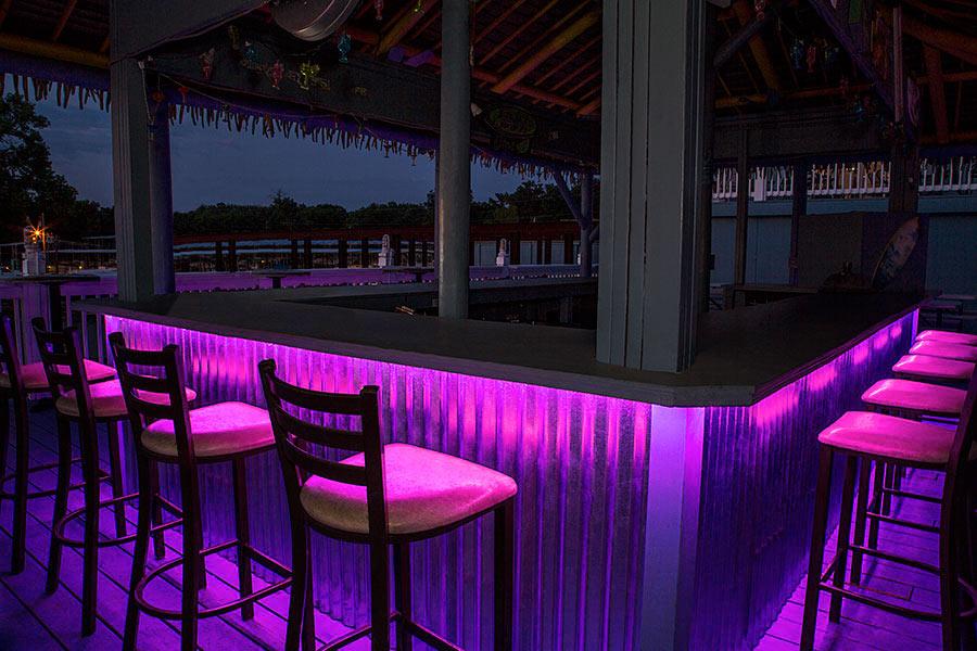 Outdoor LED Strip Lights   Pink 12V LED Tape Light   Weatherproof:  Installed Under Outdoor Bar