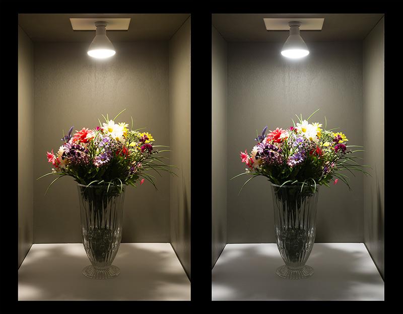br30 led bulb 15 watt dimmable led flood light bulb comparison of on shot warm white vs natural white