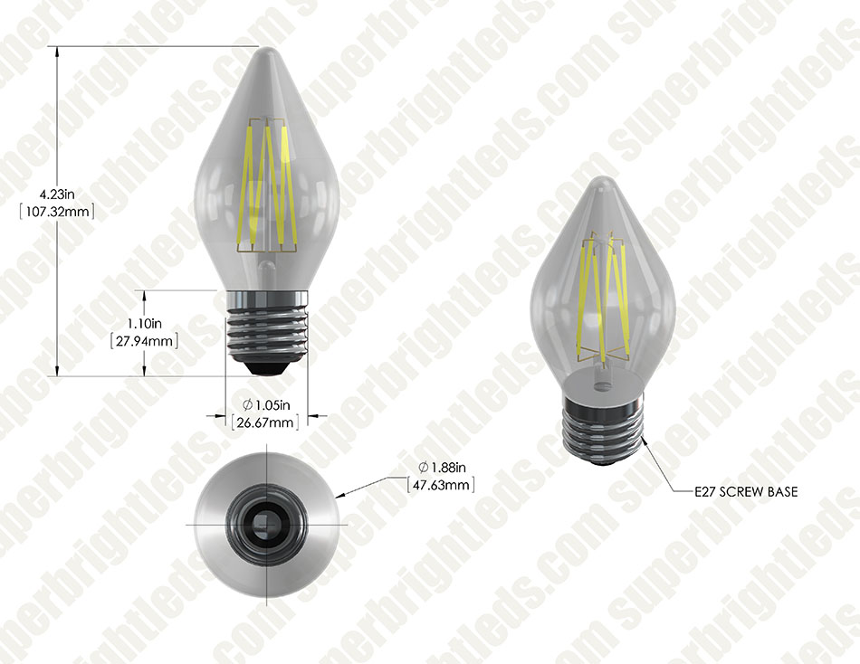 LED Vintage Light Bulb - Decorative F15 LED Bulb w/ Filament LED - Dimmable Blunt Tip Candle Bulb