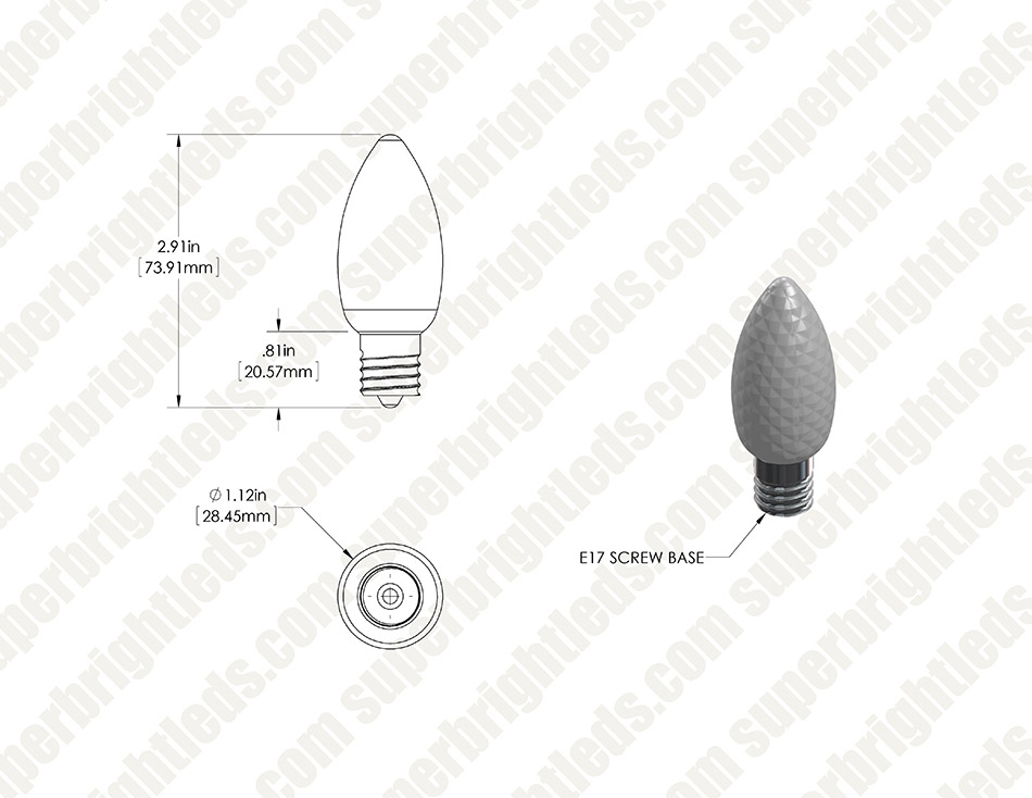 C9 LED Bulbs - Faceted Replacement Christmas Light Bulbs