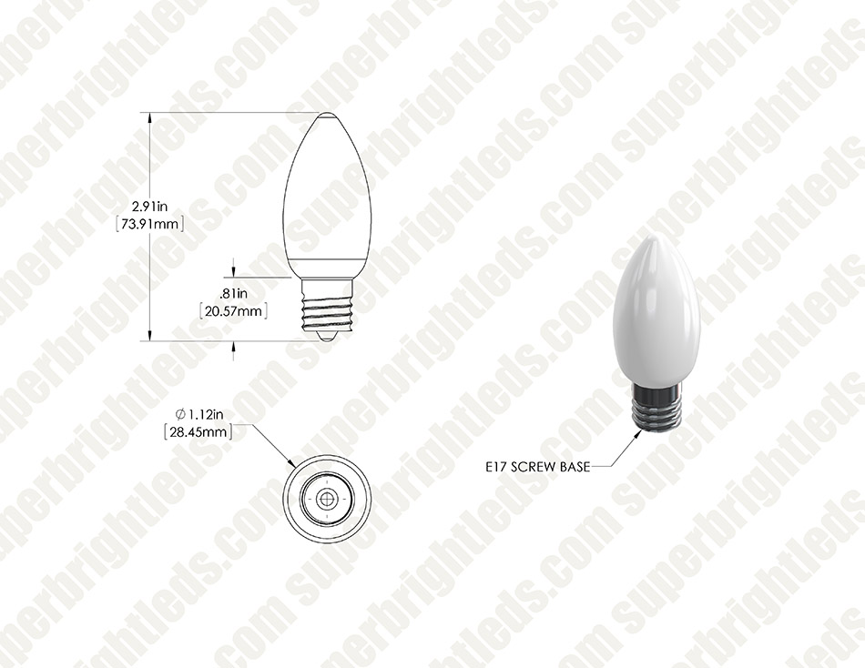 Ceramic Style C9 LED Replacement Bulb