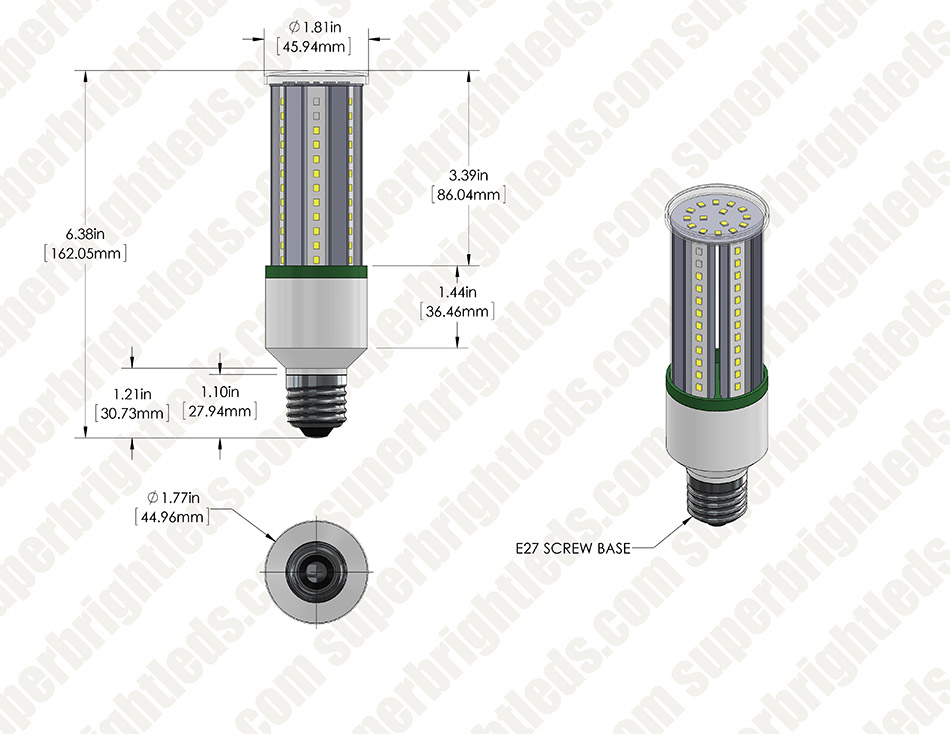 12W LED Corn Bulb - 100W Equivalent Incandescent Conversion - E26/E27 Base - 1,380 Lumens - 3000K/4000K
