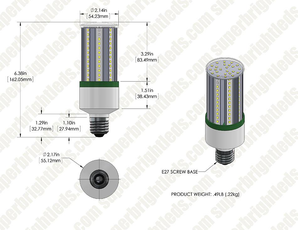 15w Led Corn Bulb 1 650 Lumens 100w Incandescent