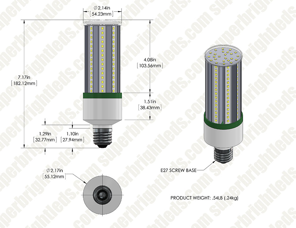 20W LED Corn Bulb - 50W Equivalent MH Conversion - E26/E27 Base - 2,200 Lumens - 3000K/4000K