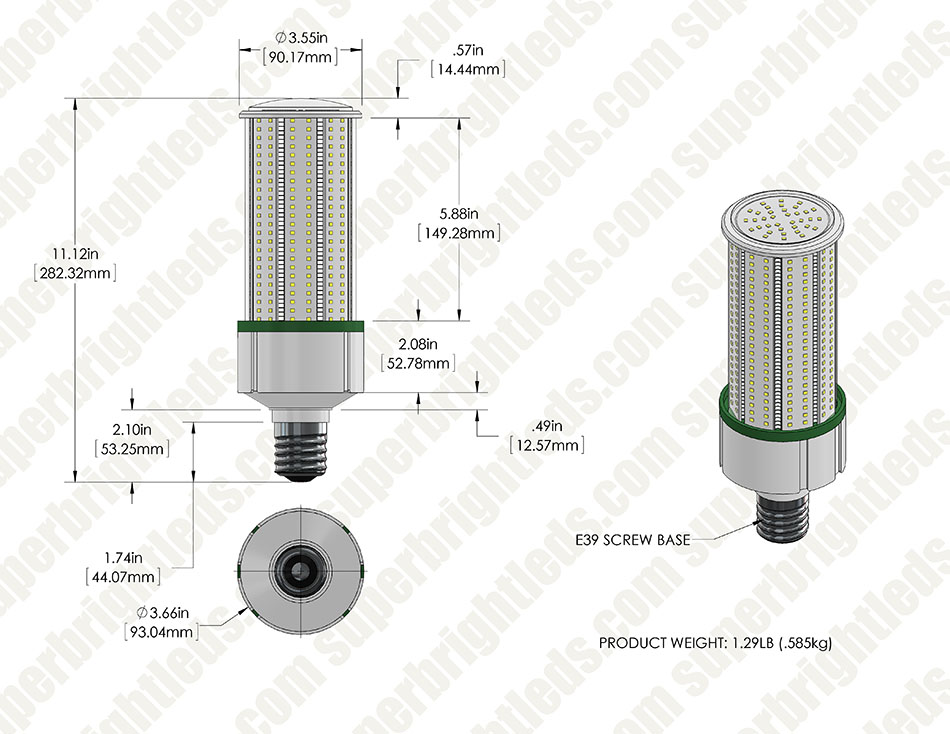 60W LED Corn Bulb - 175W Equivalent MH Conversion - E39/E40 Mogul Base - 7,600 Lumens - 5000K