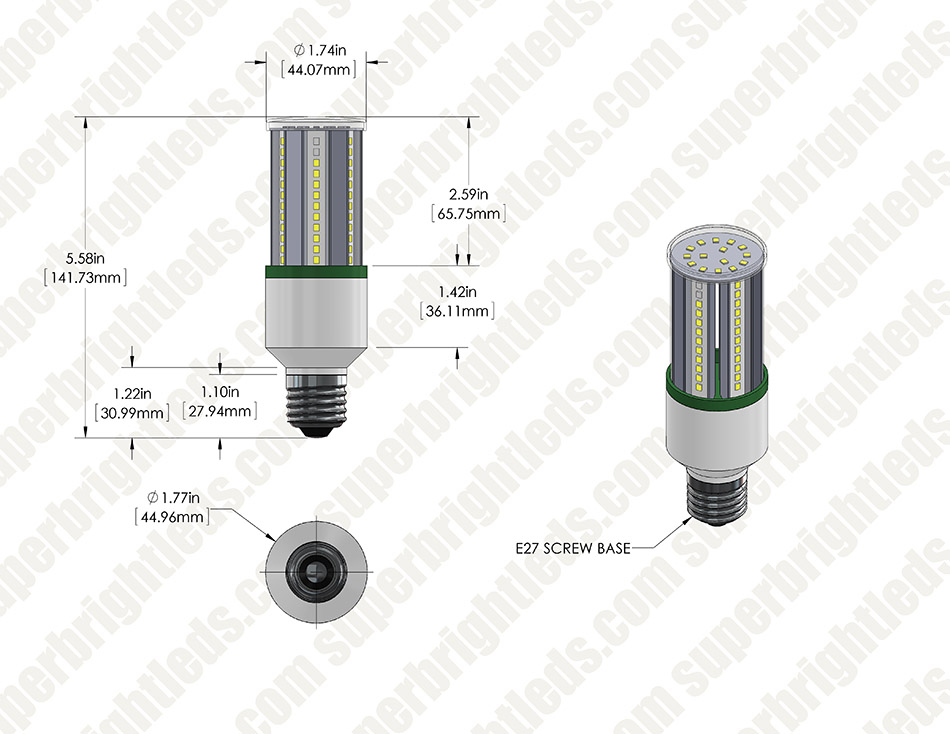 9W LED Corn Bulb - 75W Equivalent Incandescent Conversion - E26/E27 Base - 1,050 Lumens - 3000K/4000K